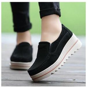 Shoes - New Flatform Black Espadrille Slip Ons
